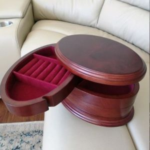 The Bombay 3-Tiered Wooden Jewelry Box Vintage EUC